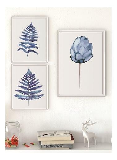 Lyn Home & Decor Mavi Lotus Seri Çerçeveli Poster 3 Lü Tablo 1 Adet 23,5X33,5 2 Adet 17,5X23,5 Beyaz